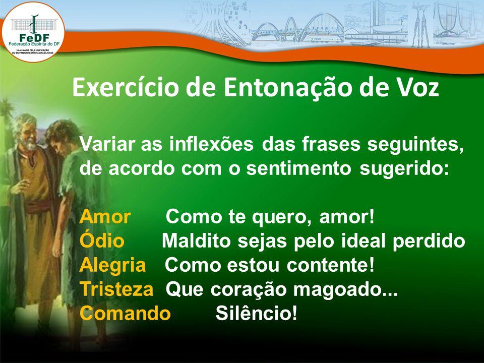 Exercício de Entonação de Voz Variar as inflexões das frases seguintes, de acordo com o sentimento sugerido: Amor Como te quero, amor! Ódio Maldito se