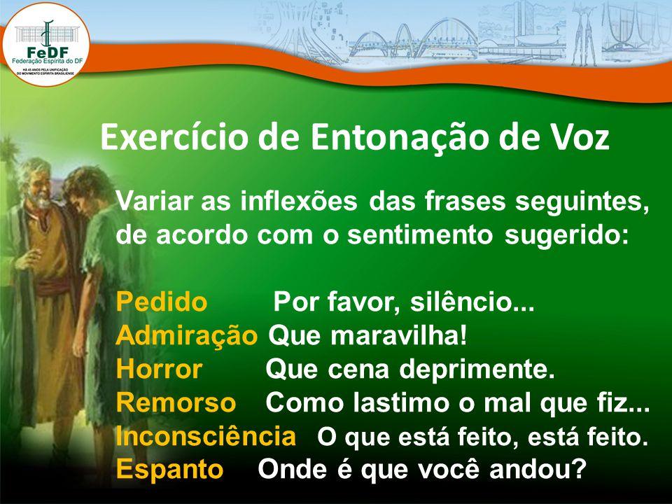 Exercício de Entonação de Voz Variar as inflexões das frases seguintes, de acordo com o sentimento sugerido: Pedido Por favor, silêncio... Admiração Q