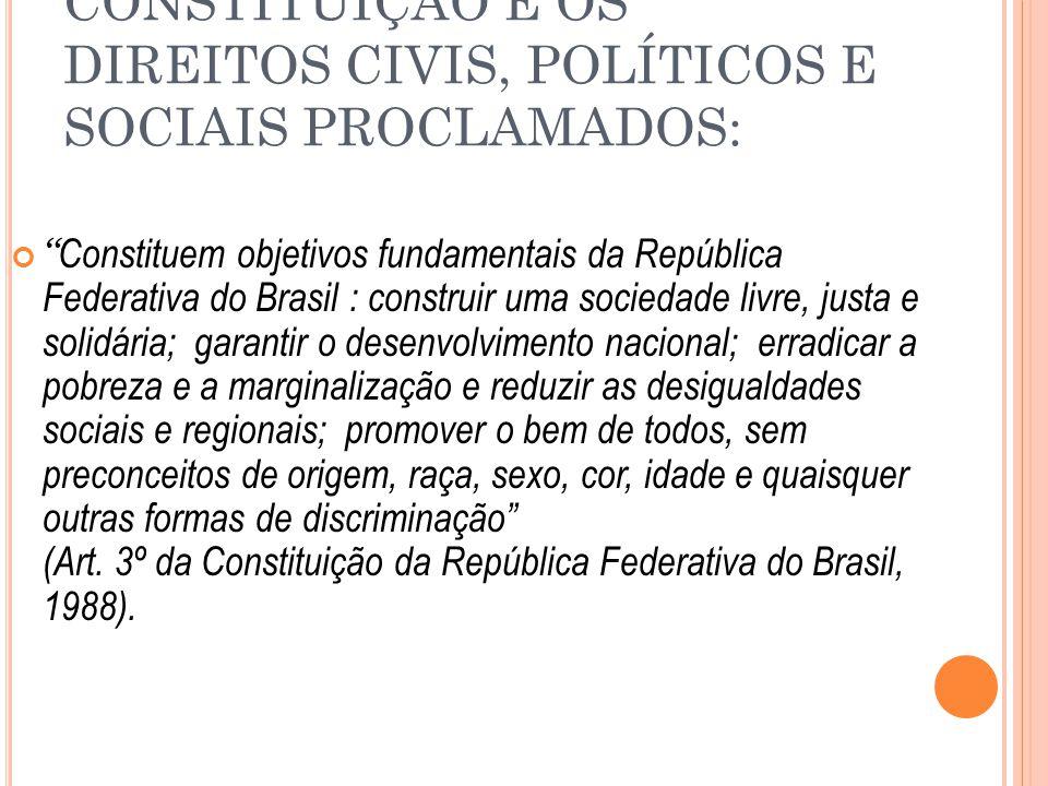 """CONSTITUIÇÃO E OS DIREITOS CIVIS, POLÍTICOS E SOCIAIS PROCLAMADOS: """" Constituem objetivos fundamentais da República Federativa do Brasil : construir u"""