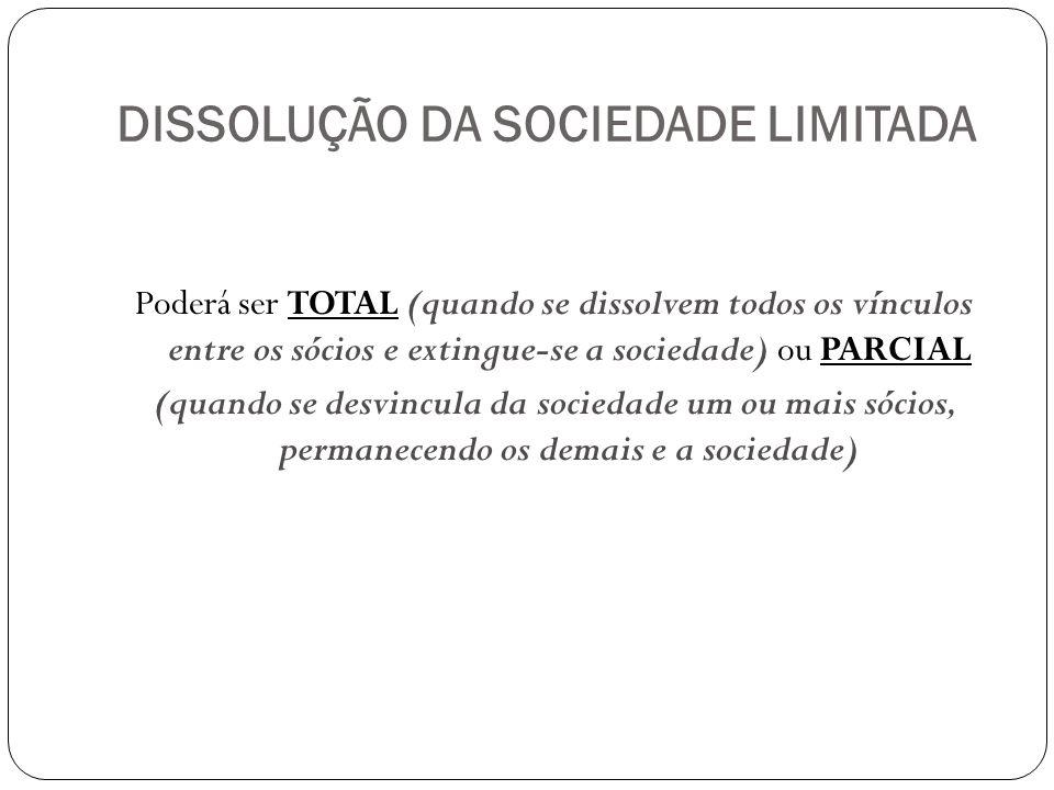 DISSOLUÇÃO DA SOCIEDADE LIMITADA Poderá ser TOTAL (quando se dissolvem todos os vínculos entre os sócios e extingue-se a sociedade) ou PARCIAL (quando