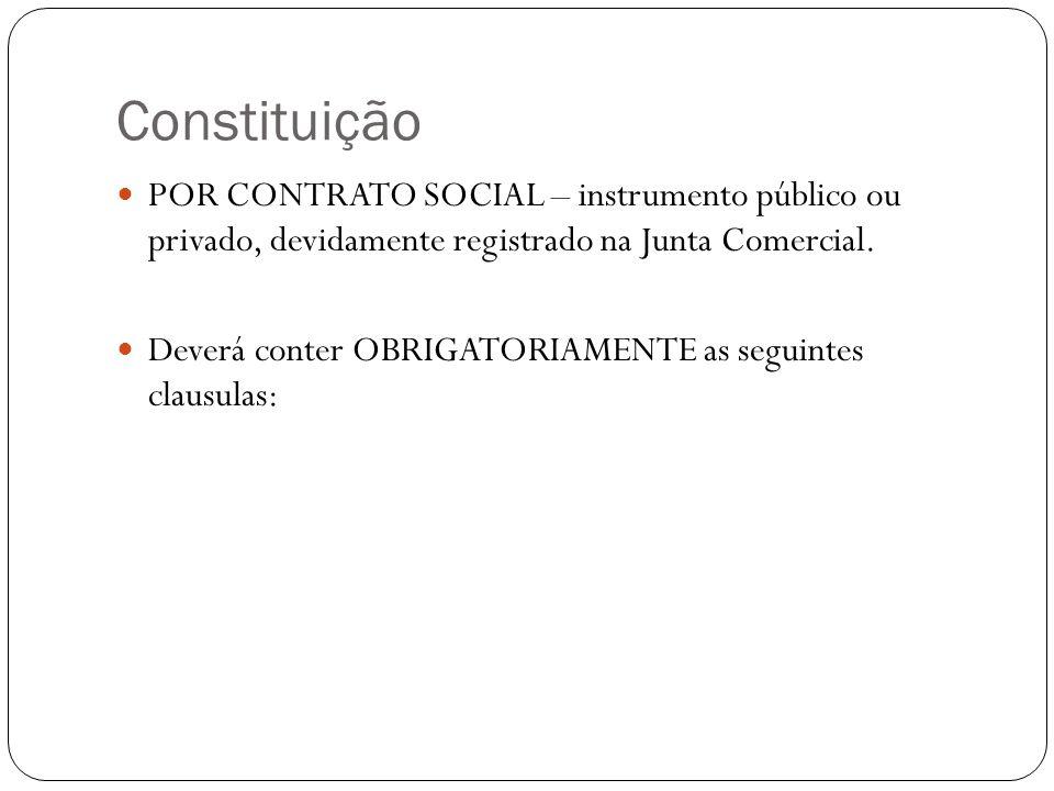 Constituição POR CONTRATO SOCIAL – instrumento público ou privado, devidamente registrado na Junta Comercial. Deverá conter OBRIGATORIAMENTE as seguin