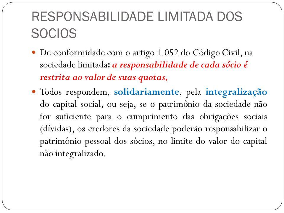 RESPONSABILIDADE LIMITADA DOS SOCIOS De conformidade com o artigo 1.052 do Código Civil, na sociedade limitada: a responsabilidade de cada sócio é res