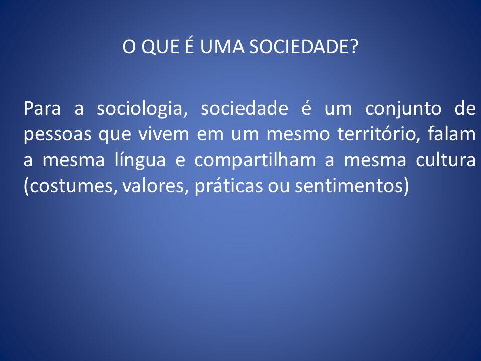 O QUE É UMA SOCIEDADE? Para a sociologia, sociedade é um conjunto de pessoas que vivem em um mesmo território, falam a mesma língua e compartilham a m
