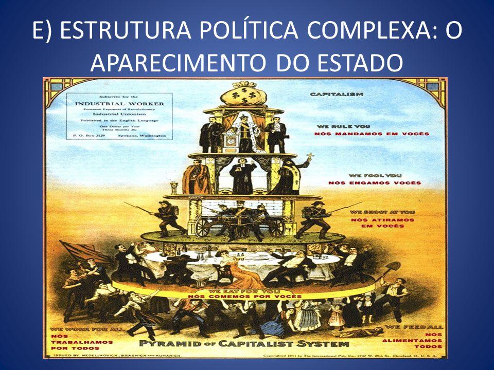 E) ESTRUTURA POLÍTICA COMPLEXA: O APARECIMENTO DO ESTADO