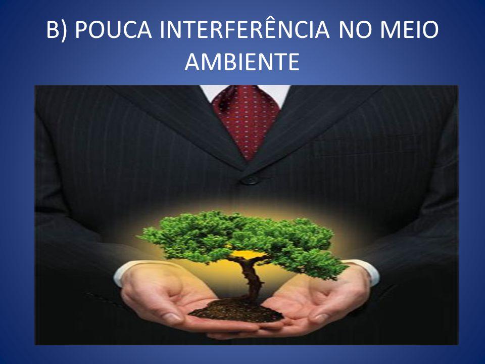 B) POUCA INTERFERÊNCIA NO MEIO AMBIENTE