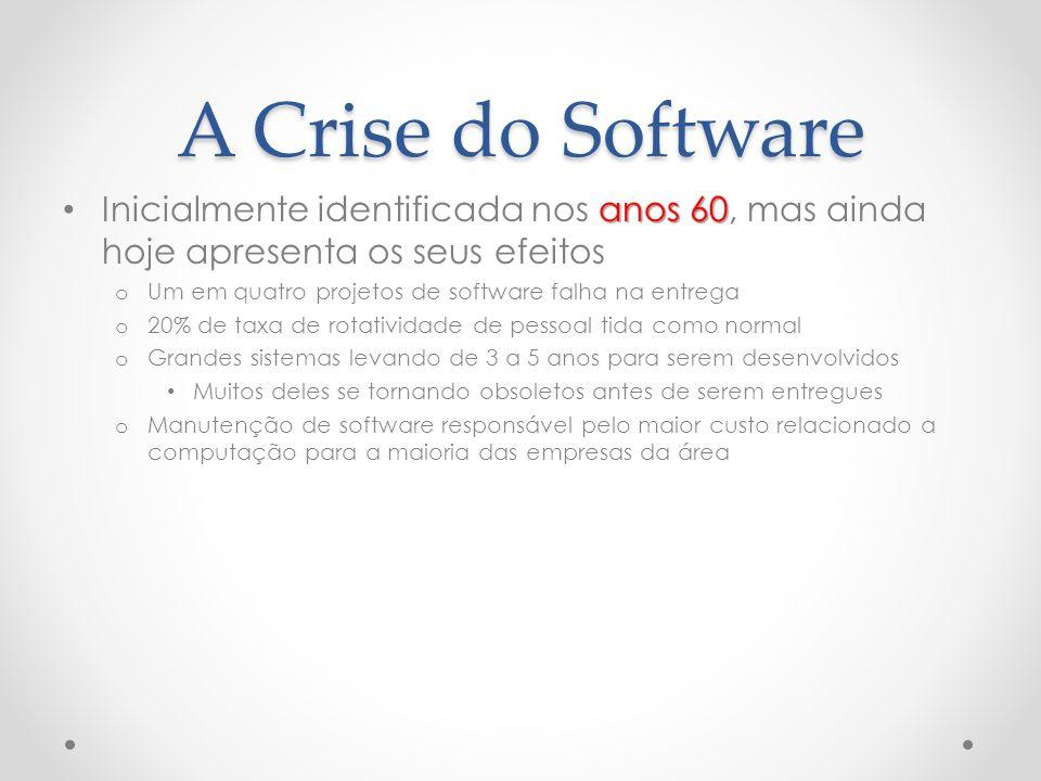 A Crise do Software anos 60 Inicialmente identificada nos anos 60, mas ainda hoje apresenta os seus efeitos o Um em quatro projetos de software falha