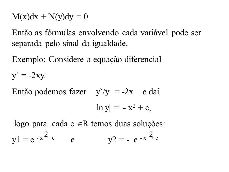 M(x)dx + N(y)dy = 0 Então as fórmulas envolvendo cada variável pode ser separada pelo sinal da igualdade. Exemplo: Considere a equação diferencial y`