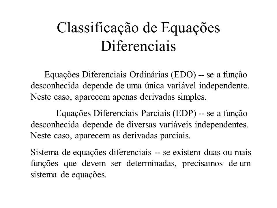 Ordem -- a ordem de uma ED é a ordem da mais alta derivada que aparece na equação.