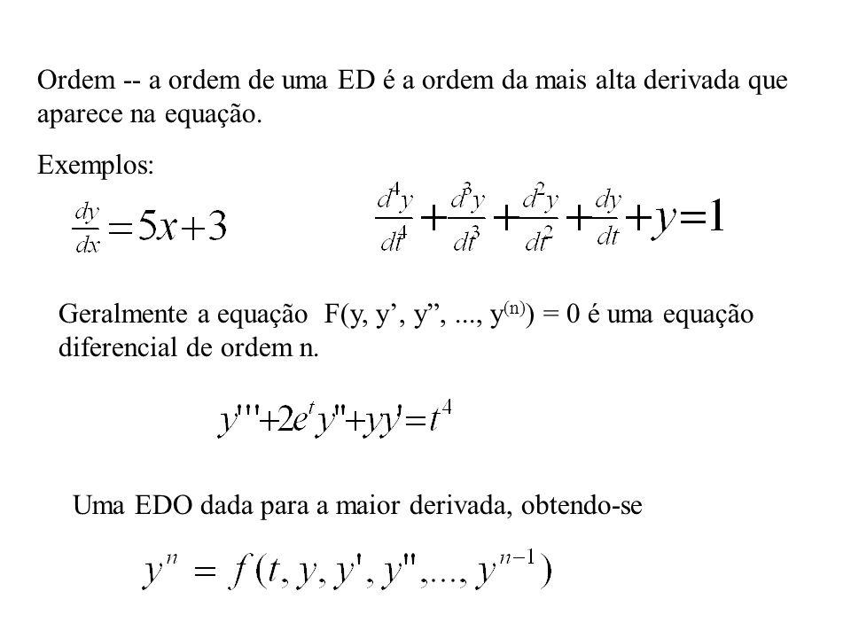 """Ordem -- a ordem de uma ED é a ordem da mais alta derivada que aparece na equação. Exemplos: Geralmente a equação F(y, y', y"""",..., y (n) ) = 0 é uma e"""