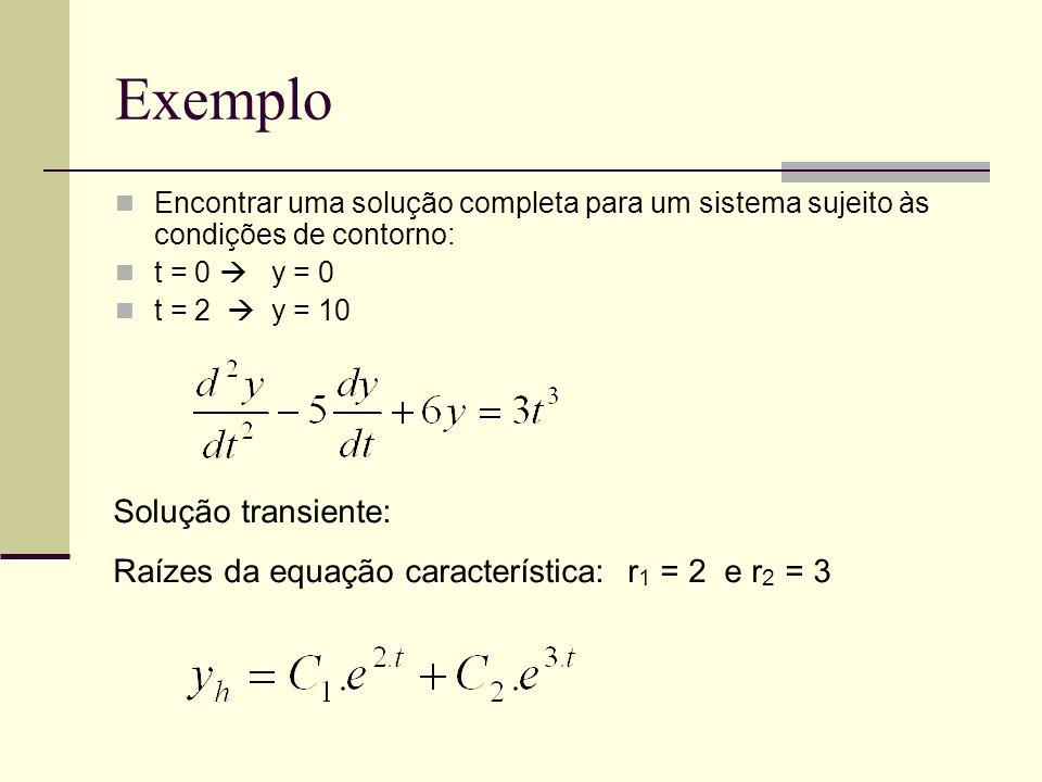 Exemplo Encontrar uma solução completa para um sistema sujeito às condições de contorno: t = 0  y = 0 t = 2  y = 10 Solução transiente: Raízes da equação característica: r 1 = 2 e r 2 = 3