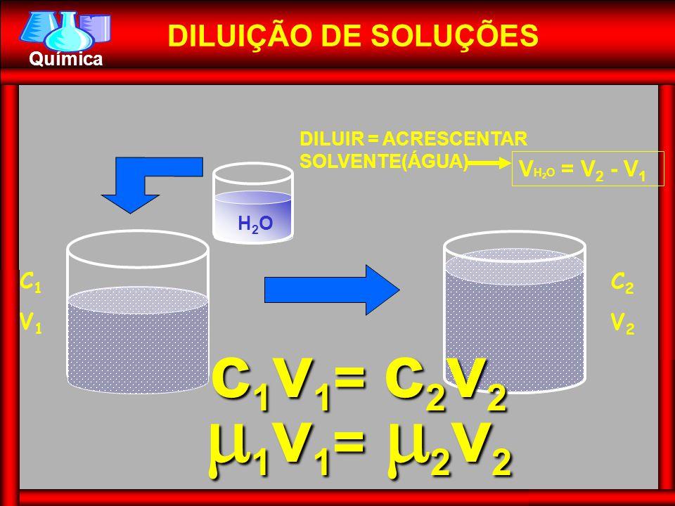 Química V H 2 O = V 2 - V 1 DILUIÇÃO DE SOLUÇÕES DILUIR = ACRESCENTAR SOLVENTE(ÁGUA) 1v1= 2v2 c1v1= c2v2 H2OH2O C1V1C1V1 C2V2C2V2