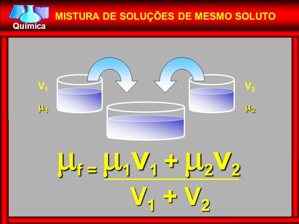 Química MISTURA DE SOLUÇÕES DE MESMO SOLUTO V111V111 V222V222  f =  1 v 1 +  2 v 2 V 1 + V 2