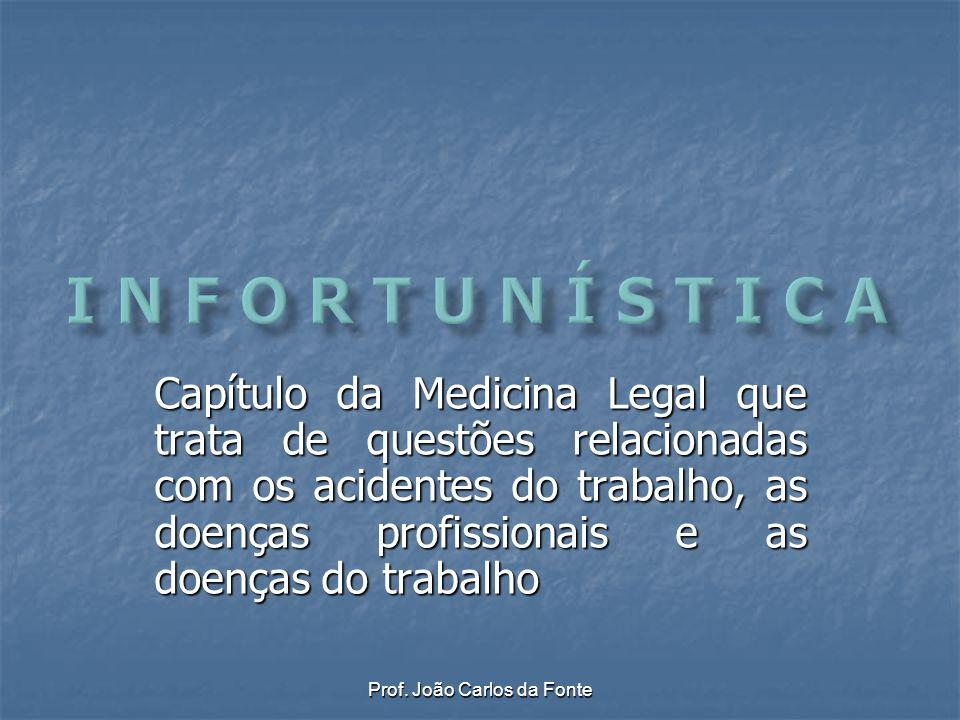 Prof. João Carlos da Fonte Capítulo da Medicina Legal que trata de questões relacionadas com os acidentes do trabalho, as doenças profissionais e as d