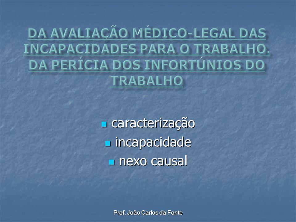 Prof. João Carlos da Fonte caracterização caracterização incapacidade incapacidade nexo causal nexo causal
