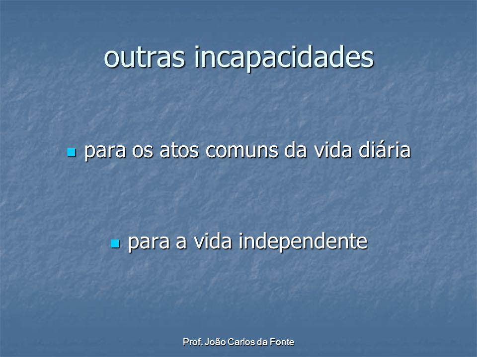 Prof. João Carlos da Fonte outras incapacidades para os atos comuns da vida diária para os atos comuns da vida diária para a vida independente para a