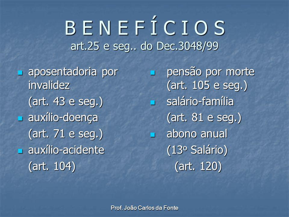 Prof. João Carlos da Fonte B E N E F Í C I O S art.25 e seg.. do Dec.3048/99 aposentadoria por invalidez aposentadoria por invalidez (art. 43 e seg.)