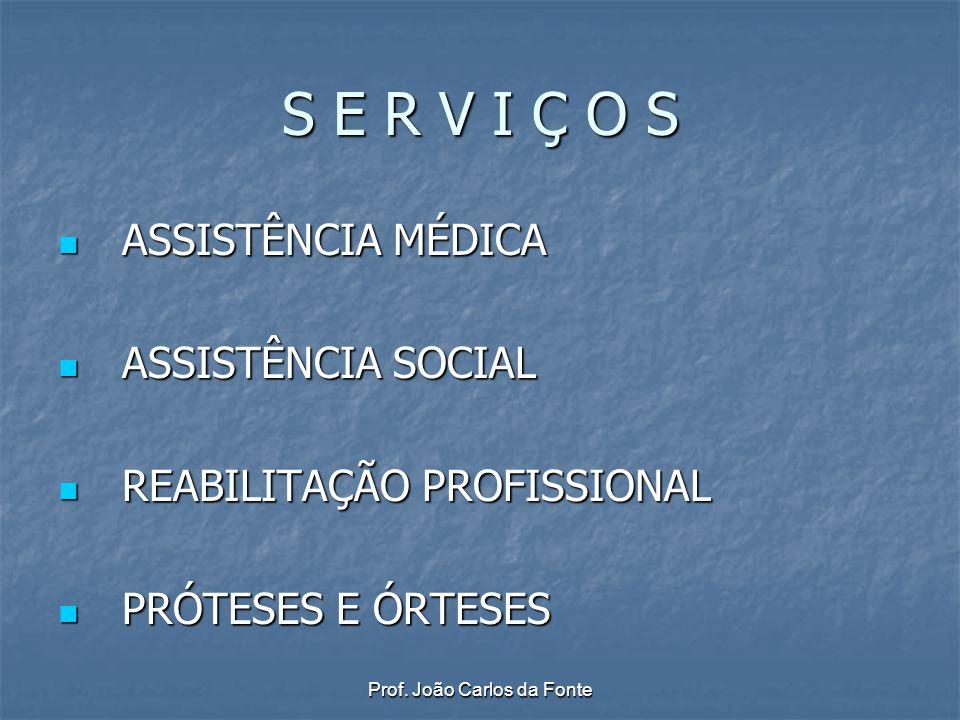 Prof. João Carlos da Fonte S E R V I Ç O S ASSISTÊNCIA MÉDICA ASSISTÊNCIA MÉDICA ASSISTÊNCIA SOCIAL ASSISTÊNCIA SOCIAL REABILITAÇÃO PROFISSIONAL REABI