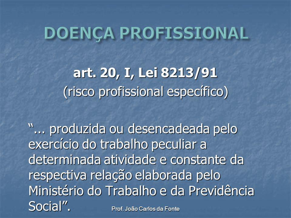 """Prof. João Carlos da Fonte art. 20, I, Lei 8213/91 (risco profissional específico) """"... produzida ou desencadeada pelo exercício do trabalho peculiar"""