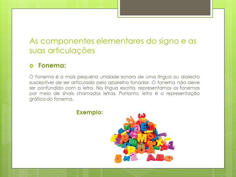 As componentes elementares do signo e as suas articulações  Fonema: O Fonema é a mais pequena unidade sonora de uma língua ou dialecto susceptível de ser articulada pelo aparelho fonador.