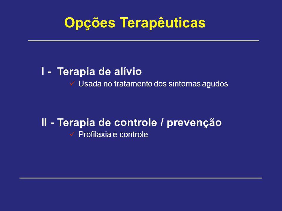 Opções Terapêuticas I - Terapia de alívio Usada no tratamento dos sintomas agudos II - Terapia de controle / prevenção Profilaxia e controle