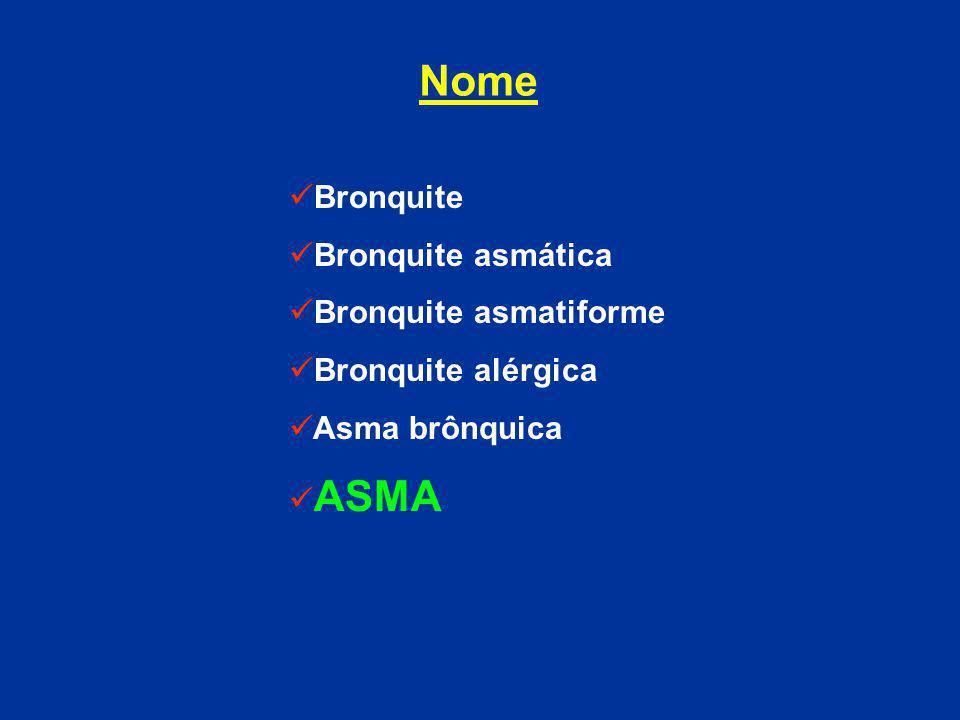 Bronquite Bronquite asmática Bronquite asmatiforme Bronquite alérgica Asma brônquica ASMA Nome