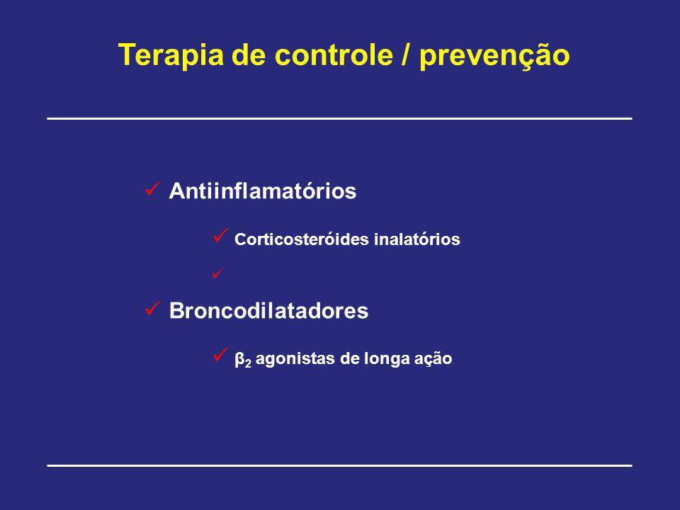 Terapia de controle / prevenção Antiinflamatórios Corticosteróides inalatórios Broncodilatadores β 2 agonistas de longa ação