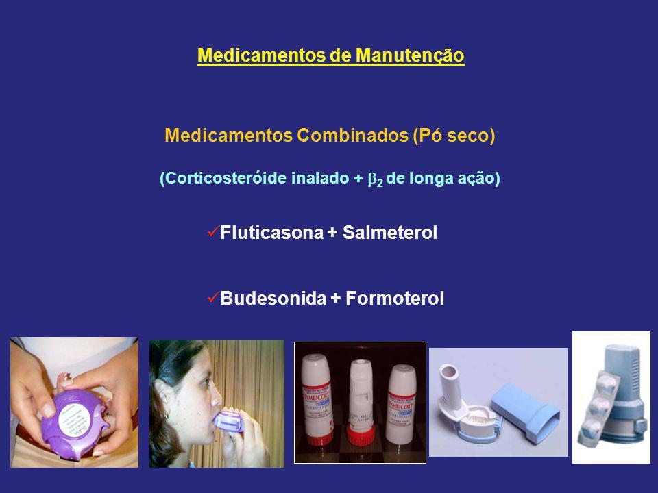 Medicamentos Combinados (Pó seco) (Corticosteróide inalado +  2 de longa ação) Fluticasona + Salmeterol Budesonida + Formoterol Medicamentos de Manutenção