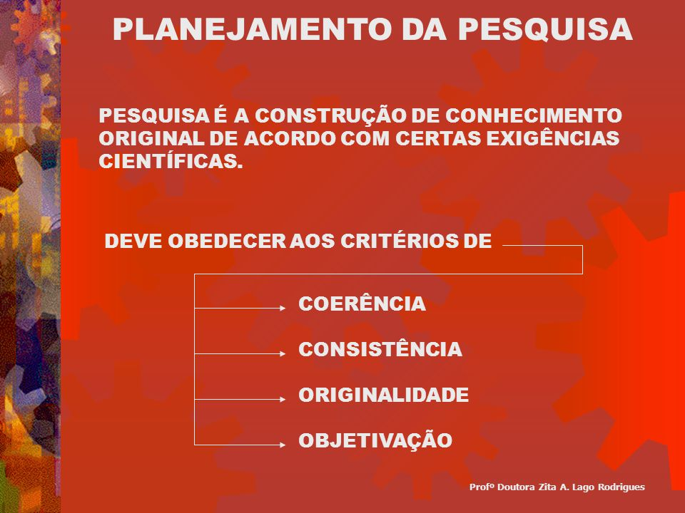 COERÊNCIA CONSISTÊNCIA ORIGINALIDADE OBJETIVAÇÃO PLANEJAMENTO DA PESQUISA PESQUISA É A CONSTRUÇÃO DE CONHECIMENTO ORIGINAL DE ACORDO COM CERTAS EXIGÊN