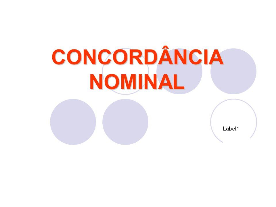 Concordância nominal é a concordância em gênero (masculino/feminino) e número(singular/plural) entre o substantivo e seus determinantes: adjetivo pronome adjetivo numeral artigo particípio