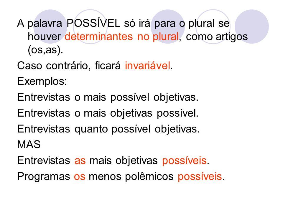 A palavra POSSÍVEL só irá para o plural se houver determinantes no plural, como artigos (os,as). Caso contrário, ficará invariável. Exemplos: Entrevis