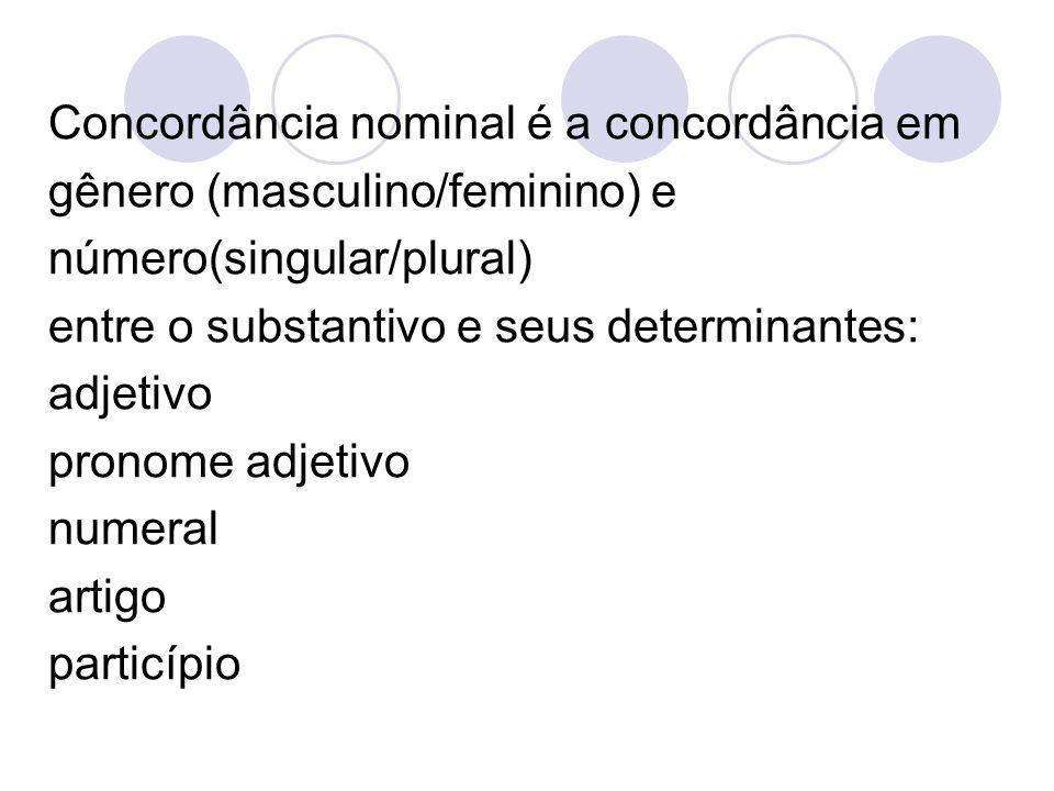 Concordância nominal é a concordância em gênero (masculino/feminino) e número(singular/plural) entre o substantivo e seus determinantes: adjetivo pron