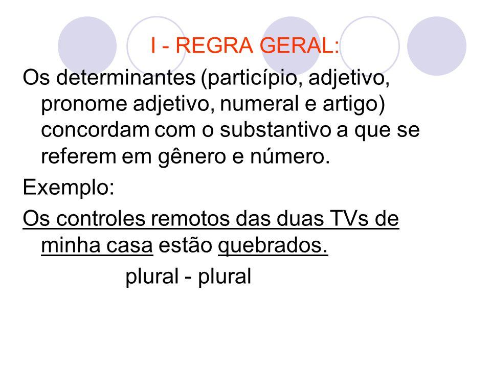I - REGRA GERAL: Os determinantes (particípio, adjetivo, pronome adjetivo, numeral e artigo) concordam com o substantivo a que se referem em gênero e