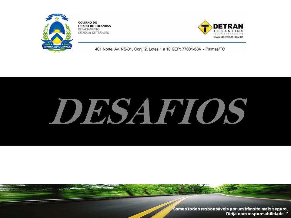 ''Somos todos responsáveis por um trânsito mais seguro. Dirija com responsabilidade. '' 13 DESAFIOS