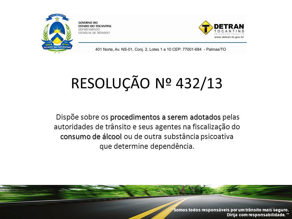 ''Somos todos responsáveis por um trânsito mais seguro. Dirija com responsabilidade. '' 19 procedimentos a serem adotados consumo de álcool RESOLUÇÃO