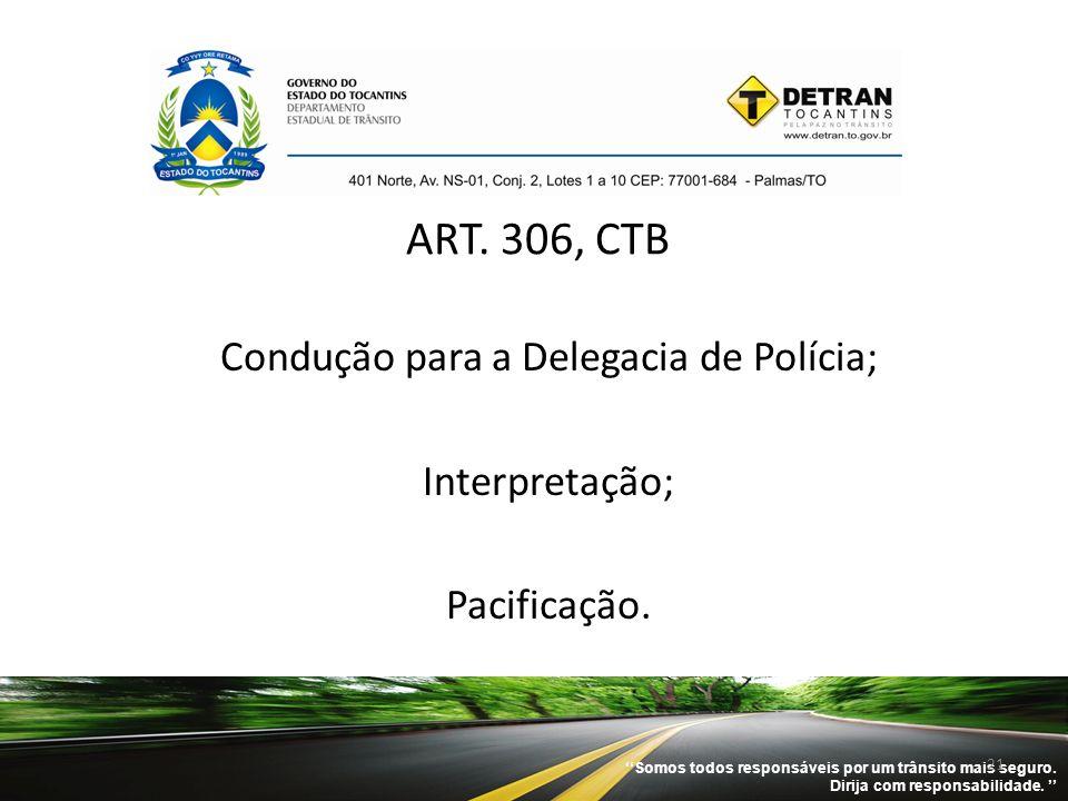 ''Somos todos responsáveis por um trânsito mais seguro. Dirija com responsabilidade. '' 21 ART. 306, CTB Condução para a Delegacia de Polícia; Interpr