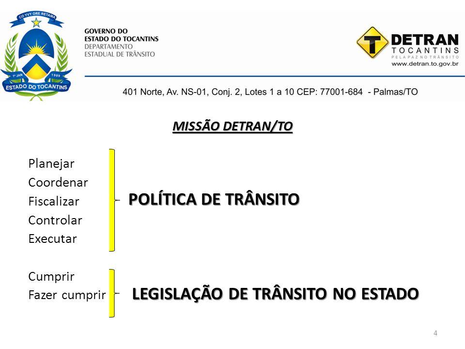 4 MISSÃO DETRAN/TO Planejar Coordenar Fiscalizar Controlar Executar Cumprir Fazer cumprir POLÍTICA DE TRÂNSITO LEGISLAÇÃO DE TRÂNSITO NO ESTADO