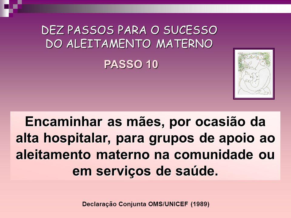 Encaminhar as mães, por ocasião da alta hospitalar, para grupos de apoio ao aleitamento materno na comunidade ou em serviços de saúde. DEZ PASSOS PARA