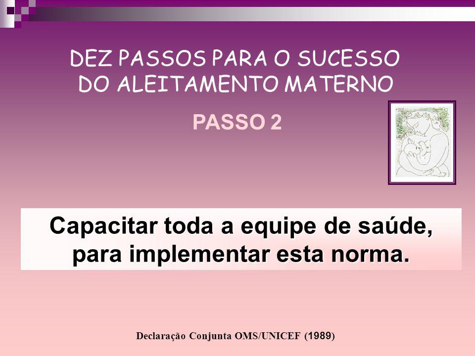 Capacitar toda a equipe de saúde, para implementar esta norma. DEZ PASSOS PARA O SUCESSO DO ALEITAMENTO MATERNO PASSO 2 Declaração Conjunta OMS/UNICEF