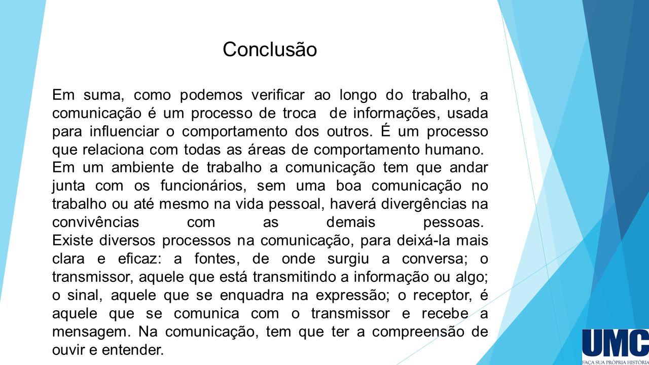 Conclusão Em suma, como podemos verificar ao longo do trabalho, a comunicação é um processo de troca de informações, usada para influenciar o comporta