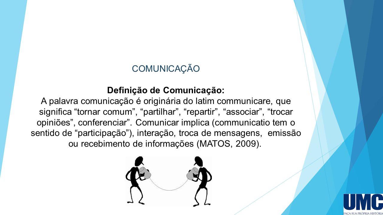 """COMUNICAÇÃO Definição de Comunicação: A palavra comunicação é originária do latim communicare, que significa """"tornar comum"""", """"partilhar"""", """"repartir"""","""