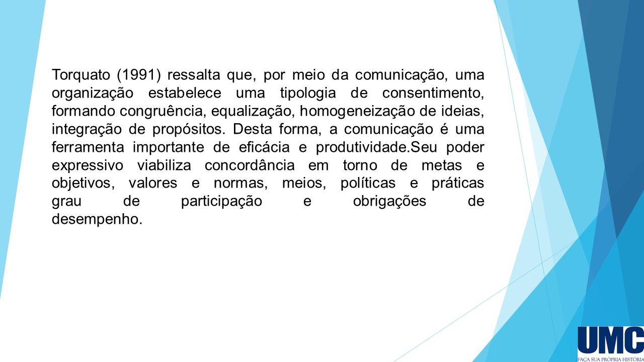 Torquato (1991) ressalta que, por meio da comunicação, uma organização estabelece uma tipologia de consentimento, formando congruência, equalização, h