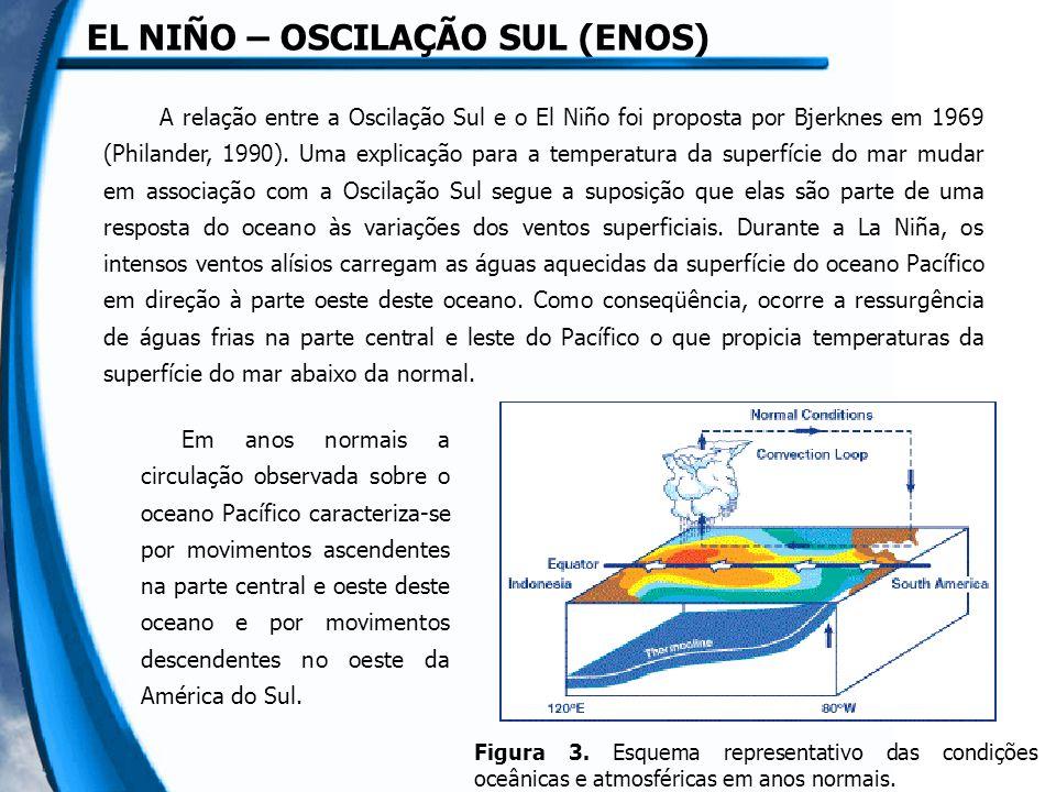 EL NIÑO – OSCILAÇÃO SUL (ENOS) Em anos normais a circulação observada sobre o oceano Pacífico caracteriza-se por movimentos ascendentes na parte central e oeste deste oceano e por movimentos descendentes no oeste da América do Sul.
