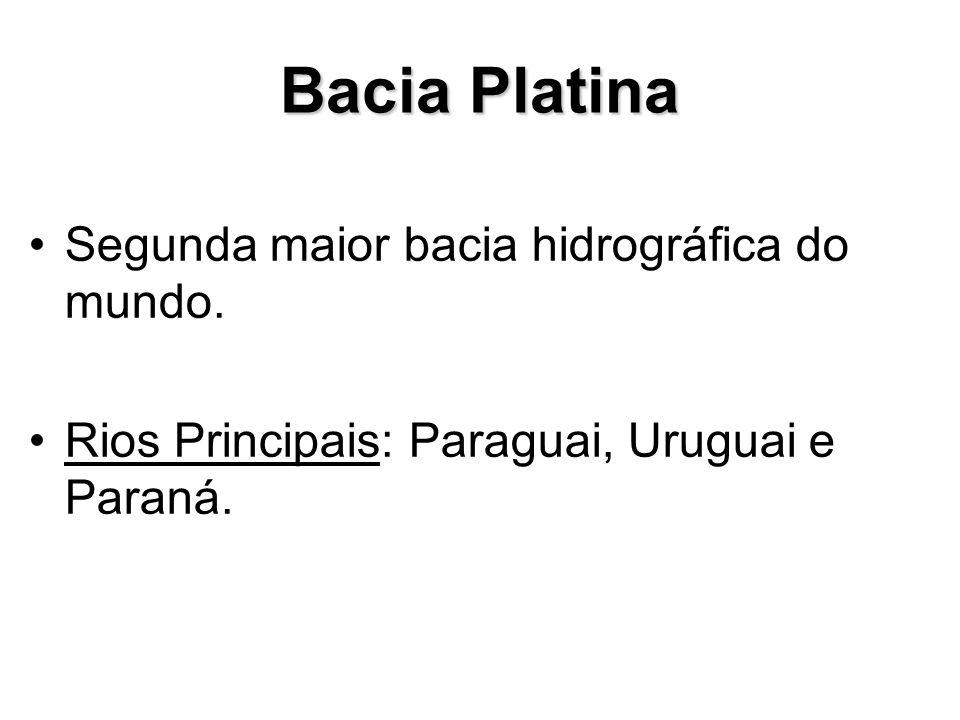Bacia Platina Segunda maior bacia hidrográfica do mundo. Rios Principais: Paraguai, Uruguai e Paraná.