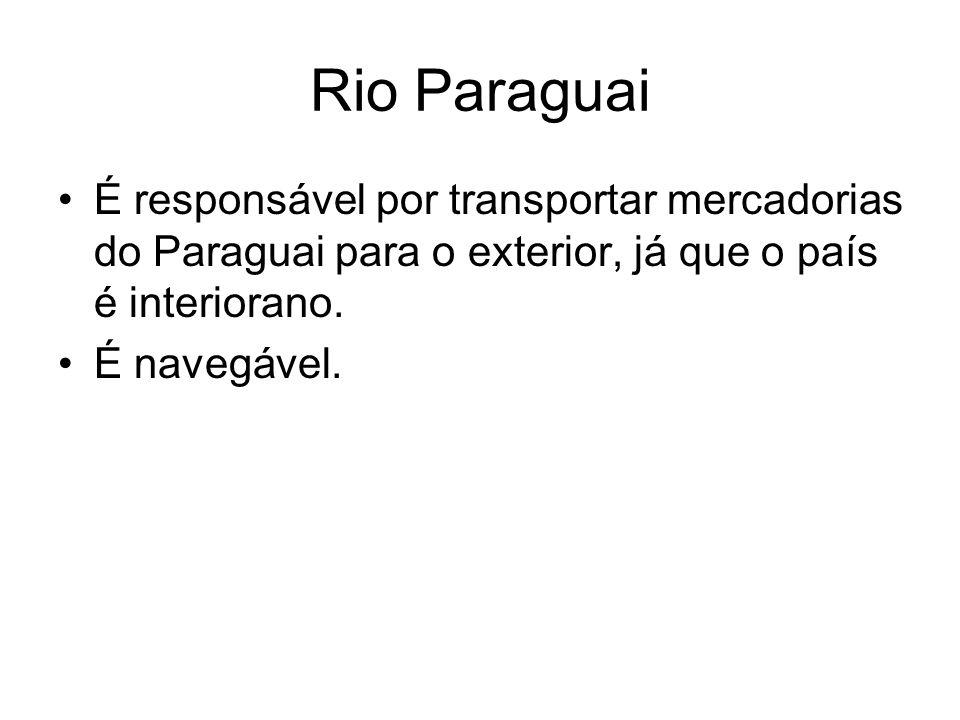Rio Paraguai É responsável por transportar mercadorias do Paraguai para o exterior, já que o país é interiorano. É navegável.