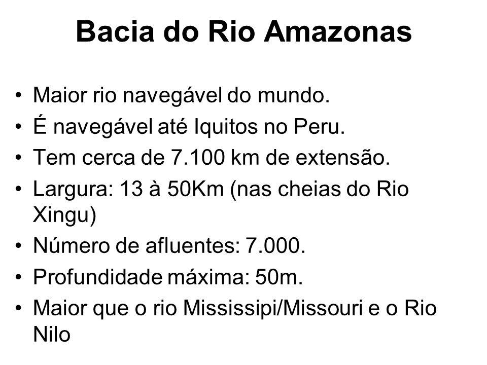Bacia do Rio Amazonas Maior rio navegável do mundo. É navegável até Iquitos no Peru. Tem cerca de 7.100 km de extensão. Largura: 13 à 50Km (nas cheias