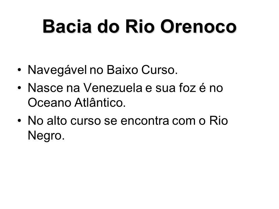 Bacia do Rio Orenoco Navegável no Baixo Curso. Nasce na Venezuela e sua foz é no Oceano Atlântico. No alto curso se encontra com o Rio Negro.