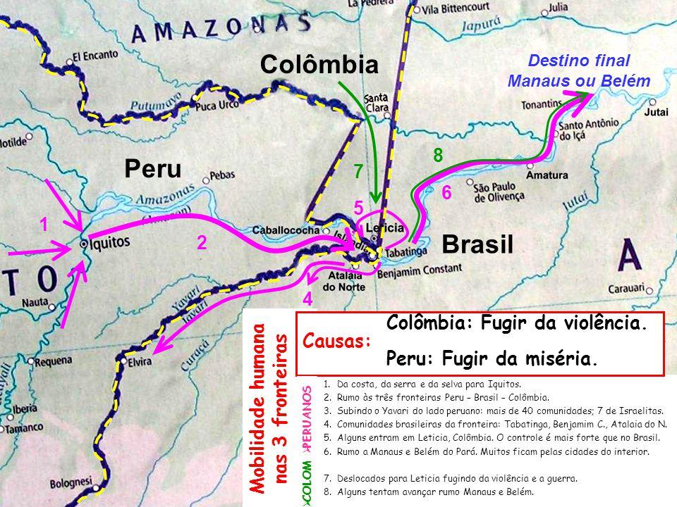 1.Da costa, da serra e da selva para Iquitos. 2.Rumo às três fronteiras Peru – Brasil – Colômbia. 3.Subindo o Yavari do lado peruano: mais de 40 comun