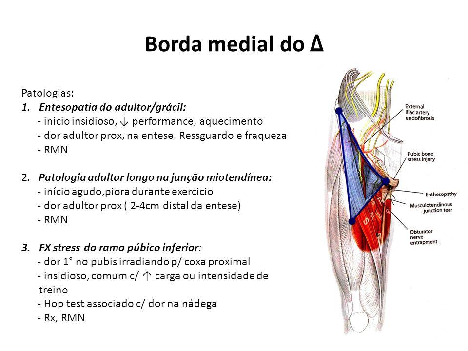 Borda medial do Δ Patologias: 1.Entesopatia do adultor/grácil: - inicio insidioso, ↓ performance, aquecimento - dor adultor prox, na entese.
