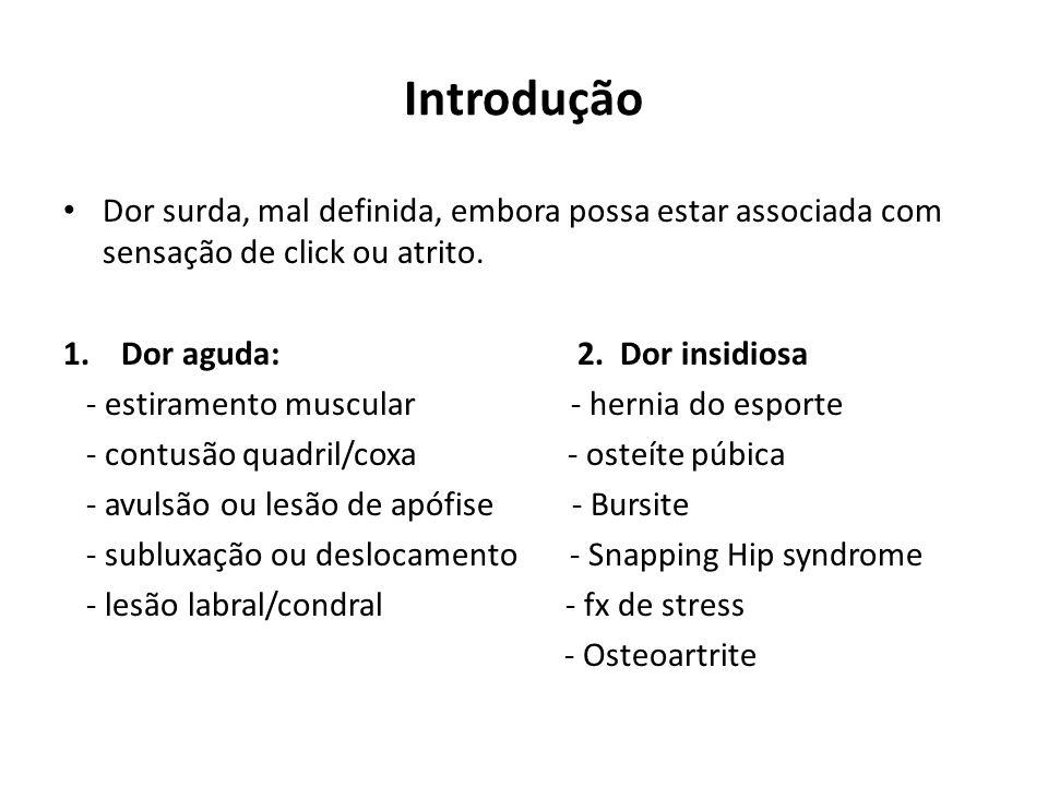 Introdução Dor surda, mal definida, embora possa estar associada com sensação de click ou atrito.