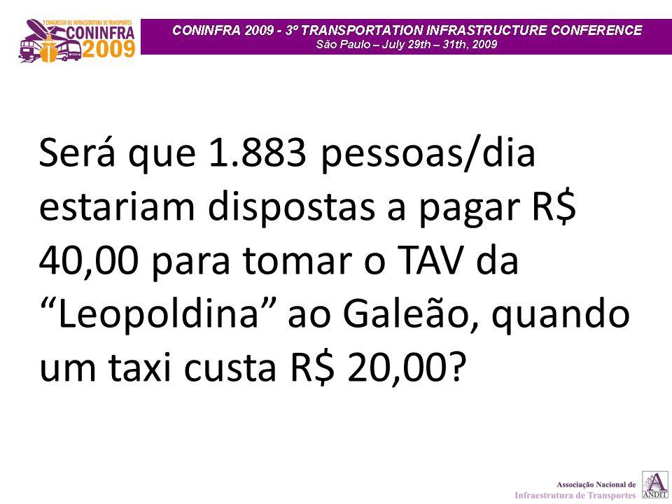 """Será que 1.883 pessoas/dia estariam dispostas a pagar R$ 40,00 para tomar o TAV da """"Leopoldina"""" ao Galeão, quando um taxi custa R$ 20,00?"""